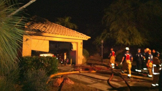 It took 30 Scottsdale firefighters to battle a garage fire Monday night. (Source: Scottsdale Fire Department)