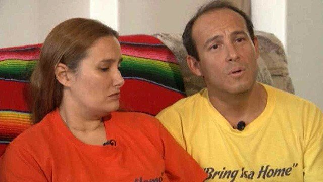 Sergio Celis, right, with his wife Rebecca, says he believes a family member has information critical to the case of his missing daughter, Isabel. (Source: KGUN-TV)