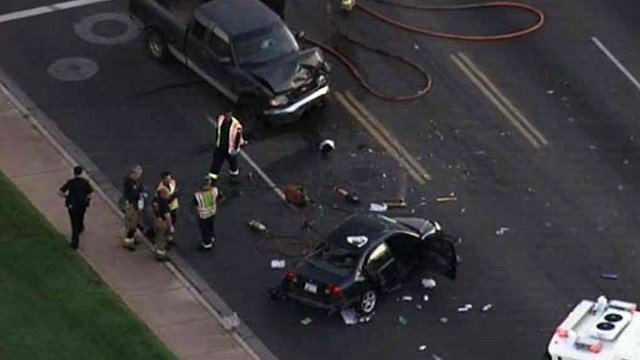 One adult died and three other people, including two children, were hurt in this crash Wednesday morning. (Source: CBS 5 News)