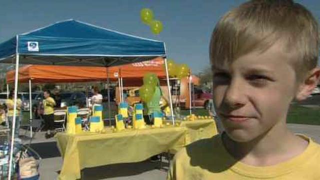 "P.J. Bartos hosts ""Alex's Lemonade Stand"" in Peoria on President's Day. (Source: CBS 5 News)"