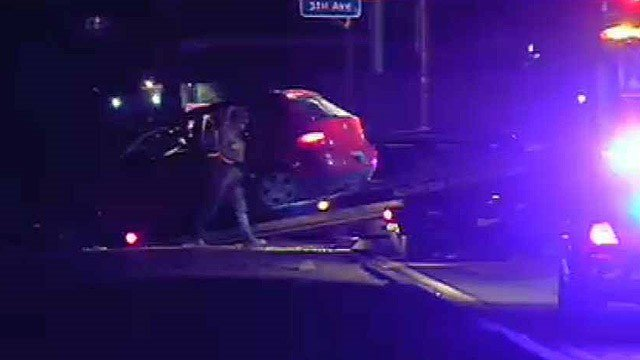 One person died when this car rolled near 51st Avenue on Interstate 10. (Source: CBS 5 News)