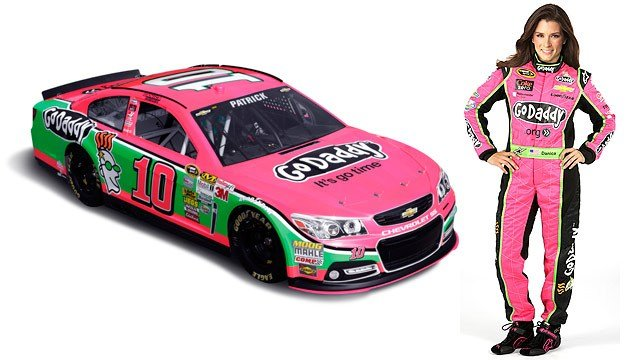 Danica Patrick will wear a pink fire suit and drive a pink Chevrolet in her NASCAR races in October to help bring awareness to the fight against breast cancer. (Source: GoDaddy)