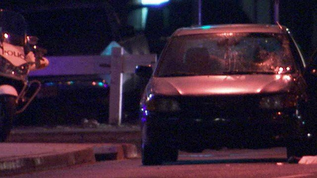 A pedestrian was killed after being hit by this car in a Phoenix intersection Tuesday night. (Source: CBS 5 News)