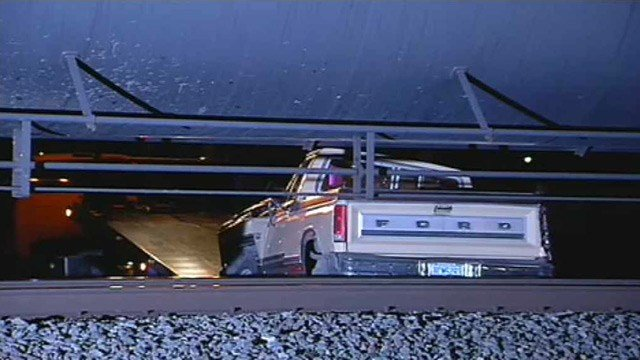 A man was able to get out of his pickup truck before a collision with a train in Sun City on Monday morning. (Source: CBS 5 News)