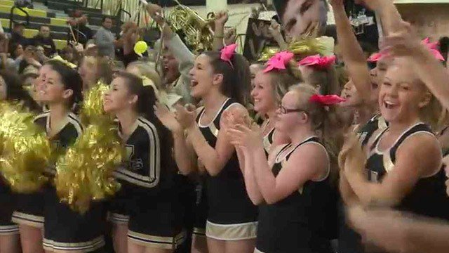 Verrado High School cheerleaders, led by its video star Megan Squire, cheer for a national TV audience after the school was announced as one of five finalists for a concert by Kate Perry. (Source: CBS 5 News)