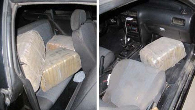 Deputies said they found four bundles of marijuana weighing 84 and worth an approximate street value of $63,000 inside a Nissan car. (Source: Pinal County Sheriff's Office)