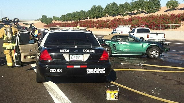 A Mesa police cruiser was involved in a three-vehicle crash Tuesday morning on U.S. Highway 60 in Mesa. (Source: Arizona Department of Public Safety)