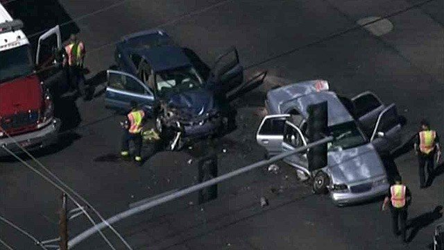Six people were hurt, two seriously, in this crash at 79th and Peoria avenues Friday. (Source: CBS 5 News)