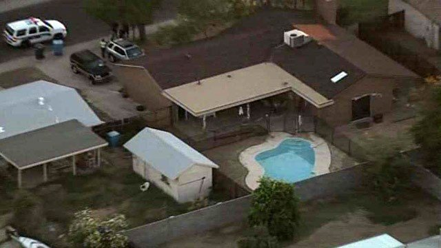 A 2-year-old boy was pulled from this Phoenix pool and was unresponsive when paramedics arrived Friday. (Source: CBS 5 News)