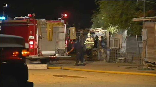 Buckeye firefighters at the scene near a mobile home fire Monday morning. (Source: CBS 5 News)