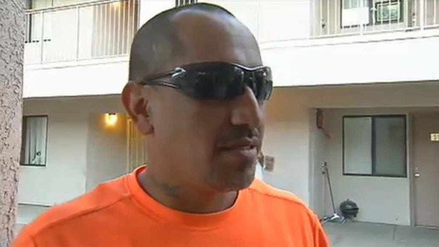Manuel Soto grabbed a rock and threw it through the front window of the apartment to try and reach the victim. (Source: CBS 5 News)