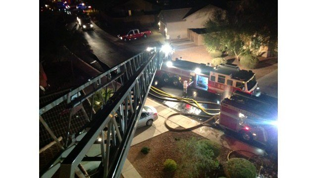Fire destroys a two-story house in south Phoenix Monday night. (Source: Phoenix Fire Department)