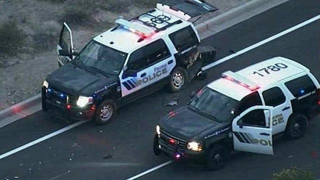 This Peoria police cruiser was one of the vehicles rammed by pickup truck Monday morning. (Source: CBS 5 News)