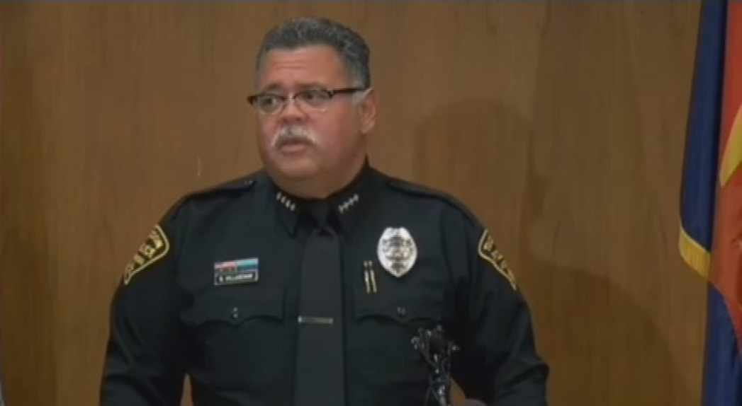 Tucson police Chief Roberto Villasenor provides details surrounding the imprisonment of three young girls at a Wednesday news conference. (Source: CBS 5 News)
