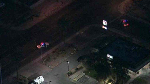 A man was found bleeding across the street from this restaurant in Glendale next to a bus stop. (Source: CBS 5 News)