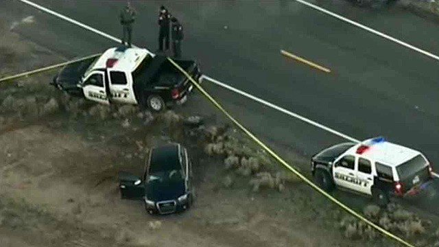 A pickup truck belonging to a Pinal County sheriff's deputy and an Audi station wagon were involved in a pursuit that turned into a shooting near Eloy on Monday morning. (Source: CBS 5 News)