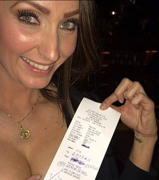 "Kristi Jonas, a bartender at an Old Town Scottsdale bar, shows the receipt with a $2,000 ""Tip for Jesus."" (Source: Instagram)"