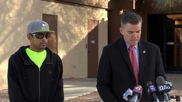 Pinal County Attorney Lando Voyles, right, stands with Adam Villa, the ex-husband of a Casa Grande woman accused of killing their 13-year-old daughter on Christmas Day. (Source: CBS 5 News)