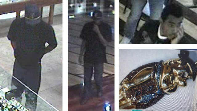 Tempe police say man in the left two photos robbed a jewelry store in Arizona Mills Mall of a Fred Flintstone pendant at gunpoint. The other man was believed to be a lookout. (Source: Tempe Police Department)