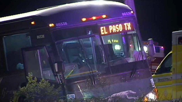 Three passengers were badly injured after they were ejected from their seats in this Greyhound bus when the driver was attacked. (Source: CBS 5 News)