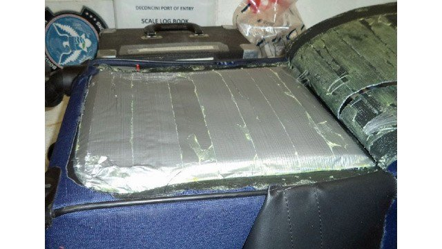 U.S. Customs and Border Protection officers found the heroin in a suitcase in a Jaguar. (Source: U.S. Customs and Border Protection)