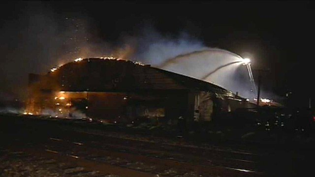 The 'bowstrung,' or domed, roof on the warehouse eventually collapsed. (Source: CBS 5 News)