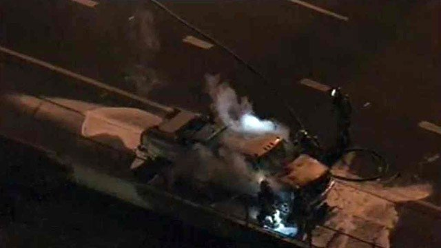 This pickup truck caught fire about 6:30 a.m. Wednesday on southbound Interstate 17. (Source: CBS 5 News)