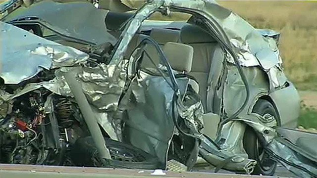 The driver of this Toyota was in extremely critical condition at an area hospital. (Source: CBS 5 News)