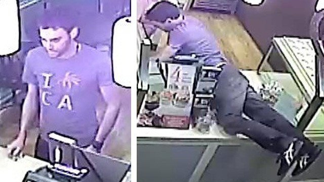 Phoenix police say this man reached across the counter and stole money from a Phoenix cupcake store in January. (Source: CBS 5 News)