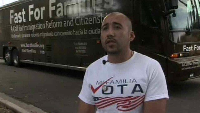"""We're not asking for any type of relief, we're just asking for citizenship,"" said Paco Chairez of Mi Familia Vota. (Source: CBS 5 News)"