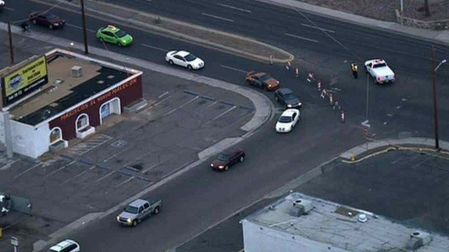 Traffic on Indian School Road is routed away from the scene of a fatal hit-and-run Tuesday morning. (Source: CBS 5 News)
