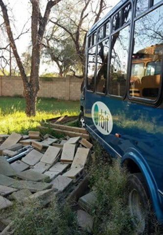 This passenger bus was damaged after it was stolen and driven into a wall in Tempe on Tuesday morning. (Source: Tempe Police Department)