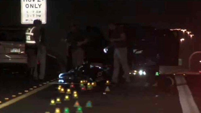 A motorcyclist was killed after slamming into the back of an SUV on Loop 101 in the north Valley on Sunday night. (Source: CBS 5 News)