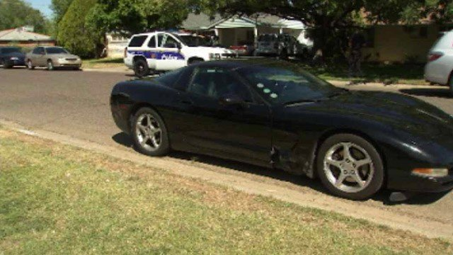 The man was driving this Chevrolet Corvette when he pulled the gun and wave it in the air as he approached the officer's car. (Source: CBS 5 News)