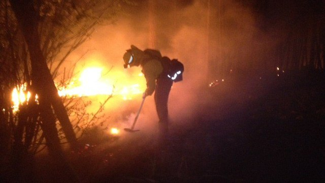 Flagstaff firefighters said a brush fire near the Coconino County Fairgrounds on Monday night was most likely human caused. (Source: CBS 5 News)