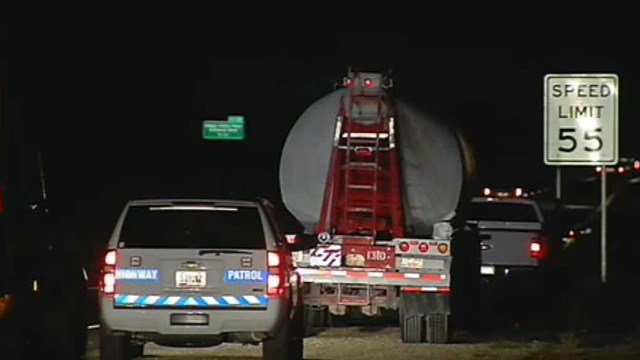 The impact of the crash broke an axle on the truck and it was waiting to be towed for repairs. (Source: CBS 5 News)