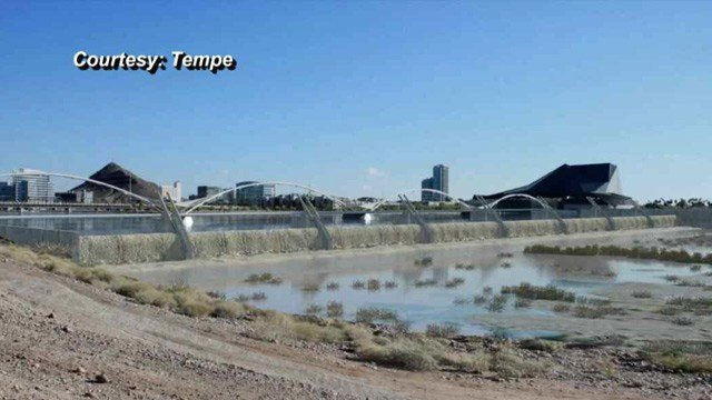The project will consist of eight fabricated steel gates mounted on a concrete foundation about 100 feet downstream from the current inflatable rubber bladders holding in the water of the lake. (Source: City of Tempe)