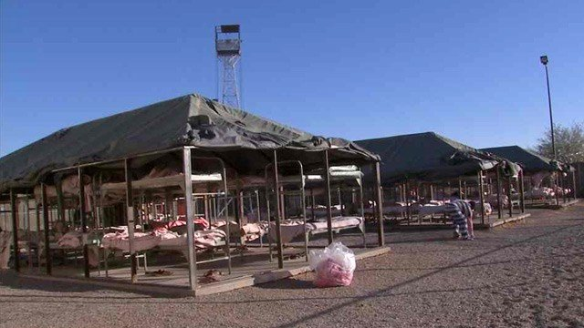The nearly 1,000 men and woman in Tent City will find water, ice, sunscreen and ice-cooled towels at various stations throughout Tent City as temperatures have reached as high as 130 degrees the past week. (Source: CBS 5 News file)