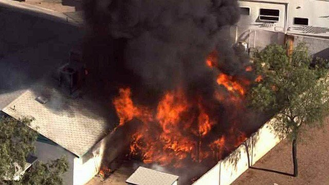 Six pets perished in this intense house fire in Phoenix on Thursday morning. The homeowner and two of his dogs were safe. (Source: CBS 5 News)