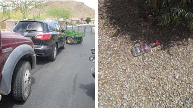 A landscaper and construction supervisor blocked Fleetwood's Buick Enclave from entering this gated community. She was later seen dropping a vodka bottle near a bush. (Source: Pinal County Sheriff's Office)