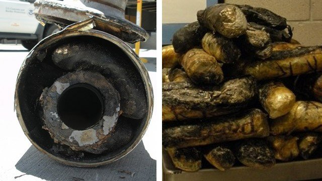 More than 69 pounds of methamphetamine and brown and black heroin were found in the smokestack mufflers of a Kenworth tractor in Nogales. (Source: U.S. Customs and Border Protection)