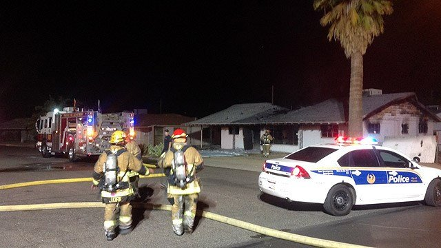 Phoenix firefighters found a hydrant that wasn't working, but they were still able to extinguish a fire at this vacant house early Thursday morning. (Source: Phoenix Fire Department)