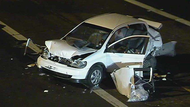 This is just one car involved in a series of crashes late Tuesday on rain-slickened Loop 101 Price Freeway at University Drive in Tempe. (Source: CBS 5 News)