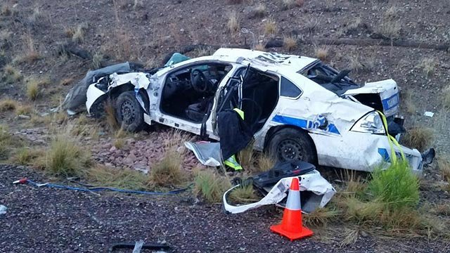 The officer was responding to a medical emergency call on State Route 87 about four miles south of Payson when he crashed in the rain. (Source: Officer Carrick Cook / DPS)