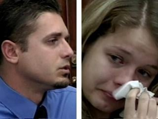 Gabriel's father, Logan McQueary, and Elizabeth Johnson in court.