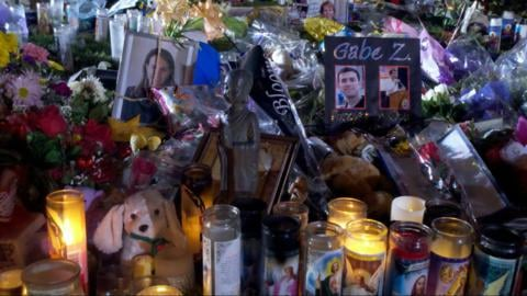 A memorial was set up in honor of the victims of the Tucson shooting.