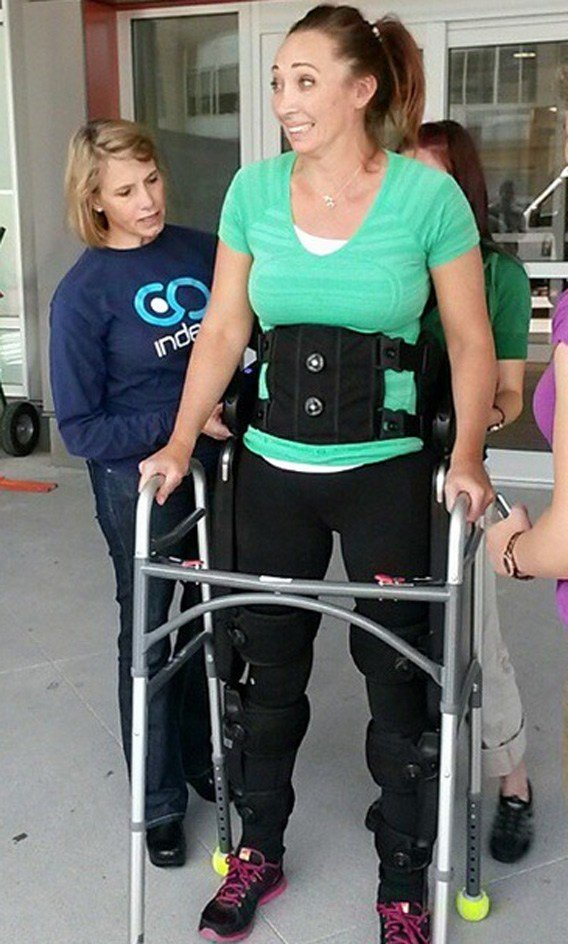 Amy Van Dyken-Rouen stands upright for the first time since the June 6. (Source: Instagram)