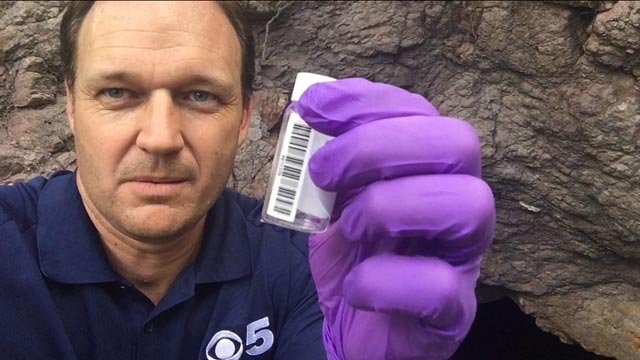 CBS 5 Investigates took water samples from within the drainage tunnel for the Lead Queen Mine. (Source: CBS 5 Investigates)