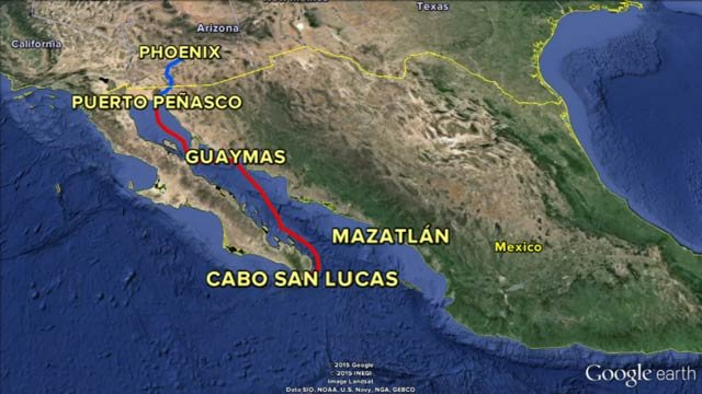 Proposed cruise route (Source: Google Earth)