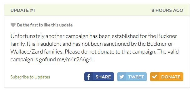 The family posted an update about the fraudulent accounts. (Source: GoFunMe.com)
